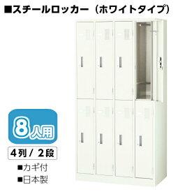 【スチールホワイトロッカー8人用】幅900(mm) 白いロッカーカギ付 ナイキ LK8N-W
