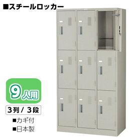 【ロッカー スチールロッカー9人用】幅900(mm) ウォームホワイト色 カギ付ナイキ LK9N-AW