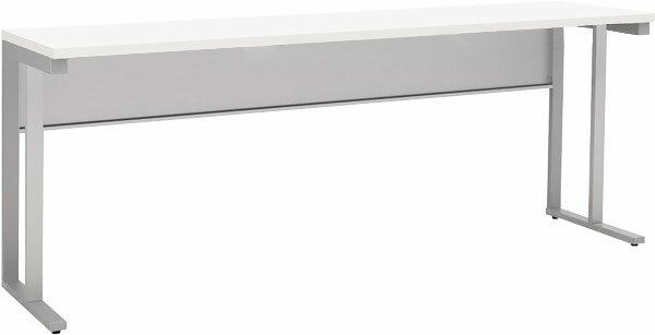 小さな机 奥行45cmのコンパクト平デスク壁際デスク スチールデスク ホワイト幅1800x奥行450x高さ700(mm)【お客様組立】WD-1845-WH