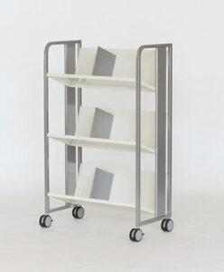 PB-H 重量物対応 ファイルワゴン 3段[シルバーメタリック色][傾斜棚][ブックエンド6個付き][キャスター付き][W720×D405×H1134mm]【お客様組立】各種デスク用オプション
