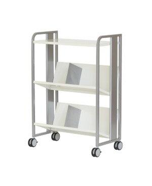 PB-H 重量物対応 ファイルワゴン 天板付き 2段[シルバーメタリック色][傾斜棚][ブックエンド2個付き][キャスター付き]【お客様組立】各種デスク用オプション