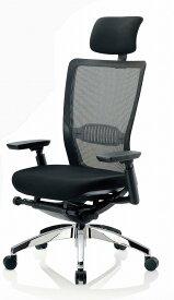 【 法人格限定 】 R-5775チェア メッシュチェア 【 ハイバック 】 【 可動肘 肘付き 】 【 ランバーサポート付 】 【 背面メッシュ 】 【 アルミ脚 】 【 布張り 黒色 】 事務用回転椅子 オフィスチェア