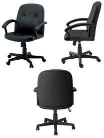 マネージャーチェア 1脚分 C121JAR 【 固定肘 】 【 PVCレザー張り ブラック色 】 【 組立品 】 【 選べるキャスタータイプ 】 事務用回転椅子 オフィスチェア デスクチェア プラスジョインテックス  ※有料にて組立可能