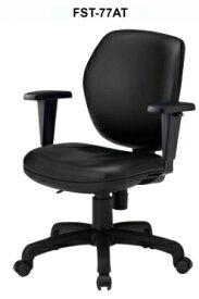 【 法人格限定 】 オフィスチェア FST-77ATLチェア 1脚分 【 ミドルバック 肘付き 可動肘 】 【 ブラック色 ビニールレザー張り 】 【 ナイロン双輪キャスター付き 】 【 3D座面による耐圧分散 】 事務用回転椅子 TOKIOチェア