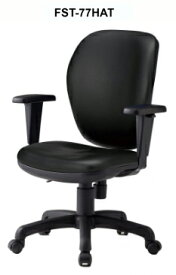 【 法人格限定 】 オフィスチェア FST-77HATLチェア 1脚分 【 ハイバック 肘付き 可動肘 】 【 ブラック色 ビニールレザー張り 】 【 ナイロン双輪キャスター付き 】 【 3D座面による耐圧分散 】 事務用回転椅子 TOKIOチェア