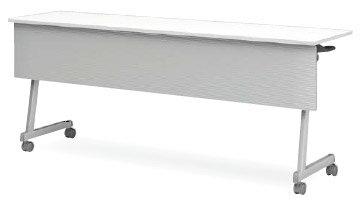 アイリスチトセ CFT89Z-1845MT フォールディングテーブル[1800W×450D×720Hmm][ABS幕板付(グレー色)][棚付][カバンフック付][アジャスター機能付キャスター付(ストッパー2ヶ所付)][選べる天板カラー全2色][お客様組立]