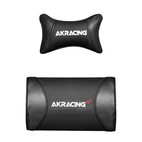 AKRACING(エーケーレーシング) ヘッドレスト&ランバーサポートセット[カーボンブラック色][お客様取付け]AKRacingゲーミングチェア Nitro,Pro-X,Wolf,Premium,極座シリーズ専用