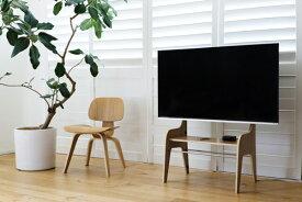 ザイトガイスト製 フロアスタンドウッド FSW[Floor Stand Wood][素材:プライウッド、オークフィニッシュ][40〜60型の薄型テレビ用][耐荷重:40kg][テーブル付][スリット内にケーブル配線可能][壁寄せ可能][お客様組立][オフィス,SOHO,リビング,パブリックスペース向け