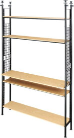 Bauhutte(R) デスクの向こう側ラック 棚板とフレームのセット ウッド木目 つっぱり固定式 高さ調節可 調節ネジ付 幅1250×奥行310×高さ2210~2710mm 耐荷重:棚板一枚あたり:12kg 総耐荷重:60kg以下 組立家具 オフィス,SOHO,自宅,ゲーム会社,IT企業,eスポーツ向け