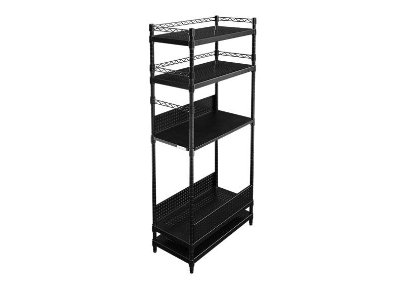Bauhutte(R) デスクサイドラック BHS-700SM-BK[幅704×奥行き360×高さ1513mm][ブラック][コの字バー付][背板:3枚付][木製天板付][パンチング棚板付][アジャスター付]