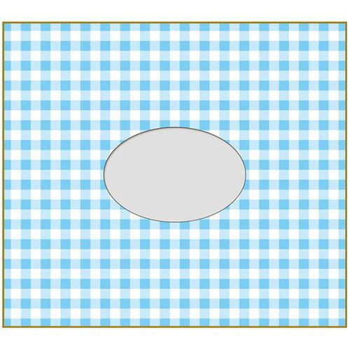 【セキセイ】 フォト色紙 1マド付 チェックブルー PS-4107-00 【ノート・紙製品】 【色紙・賞状用紙】