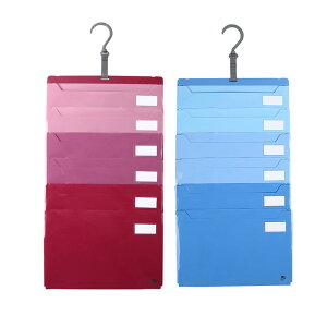 ポケット ファイル A4 6段ポケット 仕分け上手 壁掛け・たためる2way仕様 選べる2色 グリーン レッド 2個セット
