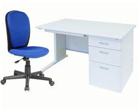 事務机 片袖机W1200+OAチェアセット オフィスデスクと事務椅子のセット商品 / 片袖デスク