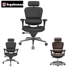 エルゴヒューマン ベーシック ハイ・革張り EH-HAL [オフィスチェア 高機能チェア メッシュチェア メッシュバック 昇降機能 伸縮 おしゃれ 革張り オフィス家具 チェア 椅子 いす OAチェア デスクチェア]