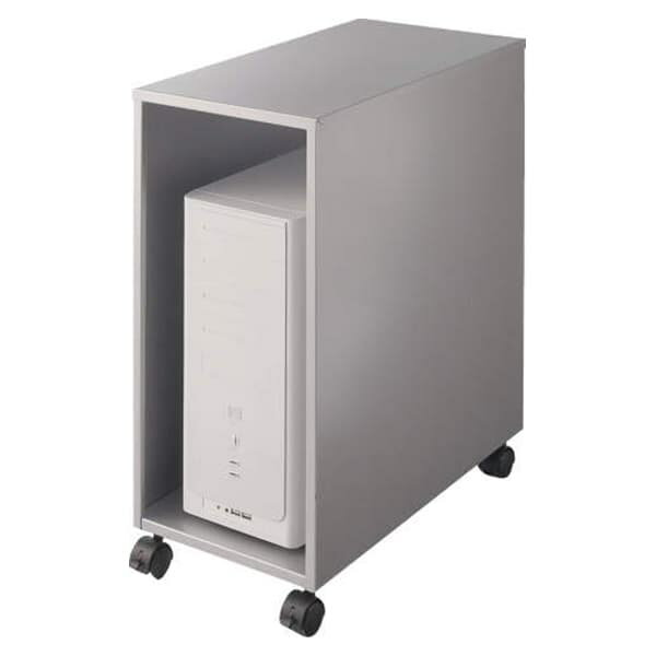 ライオン事務器 CPUワゴン(縦型) カロティア W280×D542×H620mm シルバーメタリック CO-CPU2 400-54 [キャビネット デスク デスク収納 ワゴン 脇机 収納家具 オフィス収納 オフィス家具 オフィス用 オフィス用品]