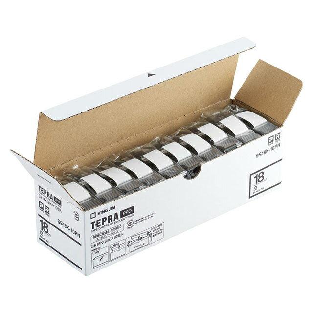 KING JIM<キングジム>「テプラ」PROテープ エコパック白ラベル 18mm 10個パック SS18K-10PN