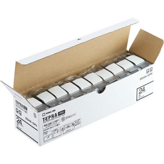 KING JIM<キングジム>「テプラ」PROテープ エコパック白ラベル 24mm 10個パック SS24K-10PN