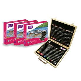 【ラッピング無料】DERWENT ダーウェント・アカデミーカラーペンシル ウッドボックス48本(色鉛筆24色&水彩色鉛筆24色)セット DA40000 アコブランズ・ジャパン
