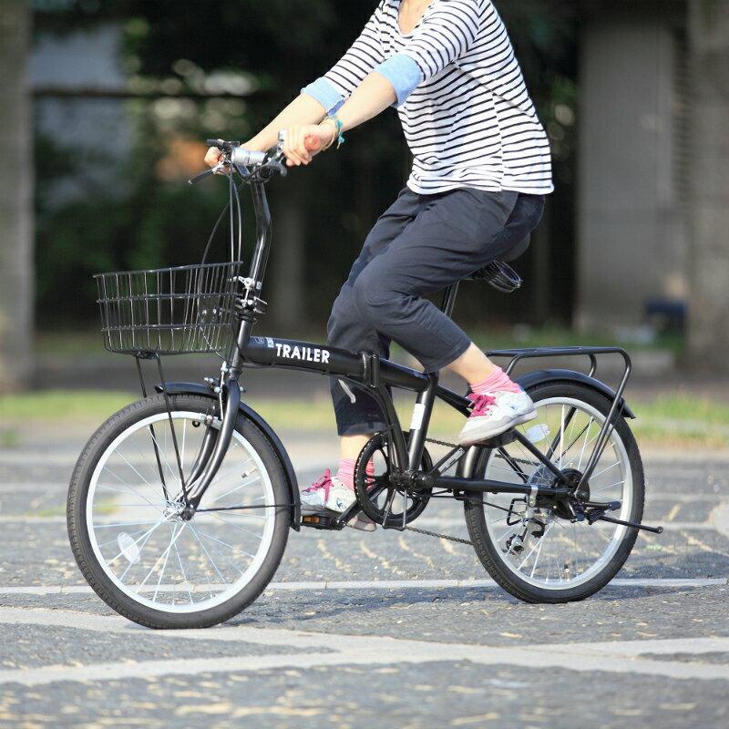 【メーカー欠品中 8月頃入荷予定】【送料無料】HANWA(阪和) 20インチ カラフル折りたたみ自転車 6段変速 カゴ/カギ/ライト付 TRAILER BGC-F20-BK ブラック