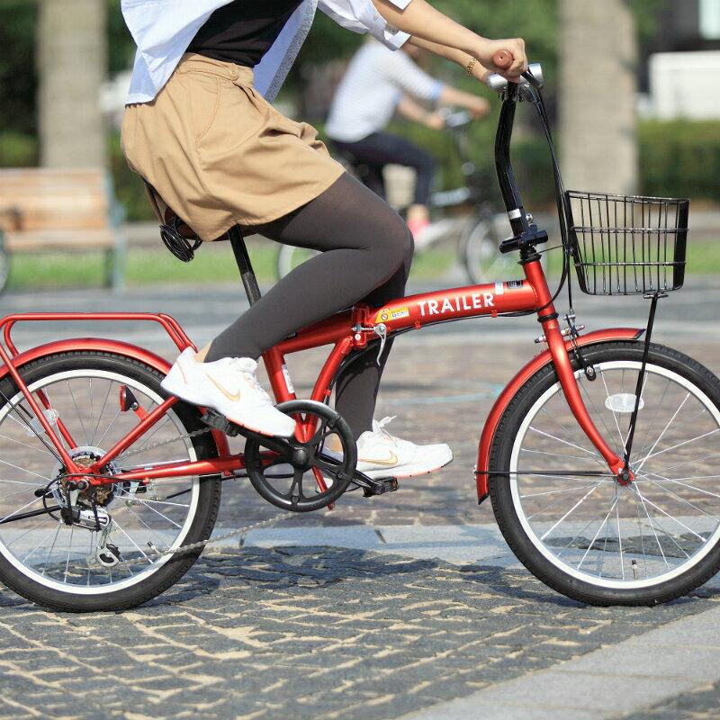 【メーカー欠品中 8月中旬入荷予定】【送料無料】HANWA(阪和) 20インチ カラフル折りたたみ自転車 6段変速 カゴ/カギ/ライト付 TRAILER BGC-F20-RD レッド