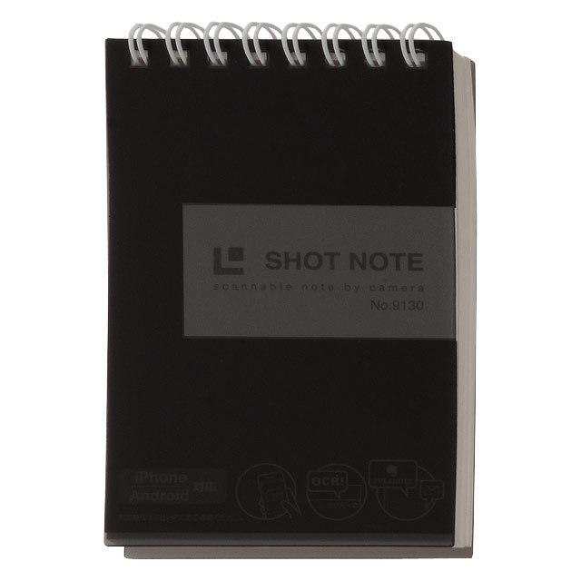 【メール便なら送料120円】キングジム<KING JIM> SHOT NOTE(ショットノート)<透明表紙> ツインリングタイプ Sサイズ(A7対応) 50シート/6mm横罫 黒 No.9130クロ 【RCP】