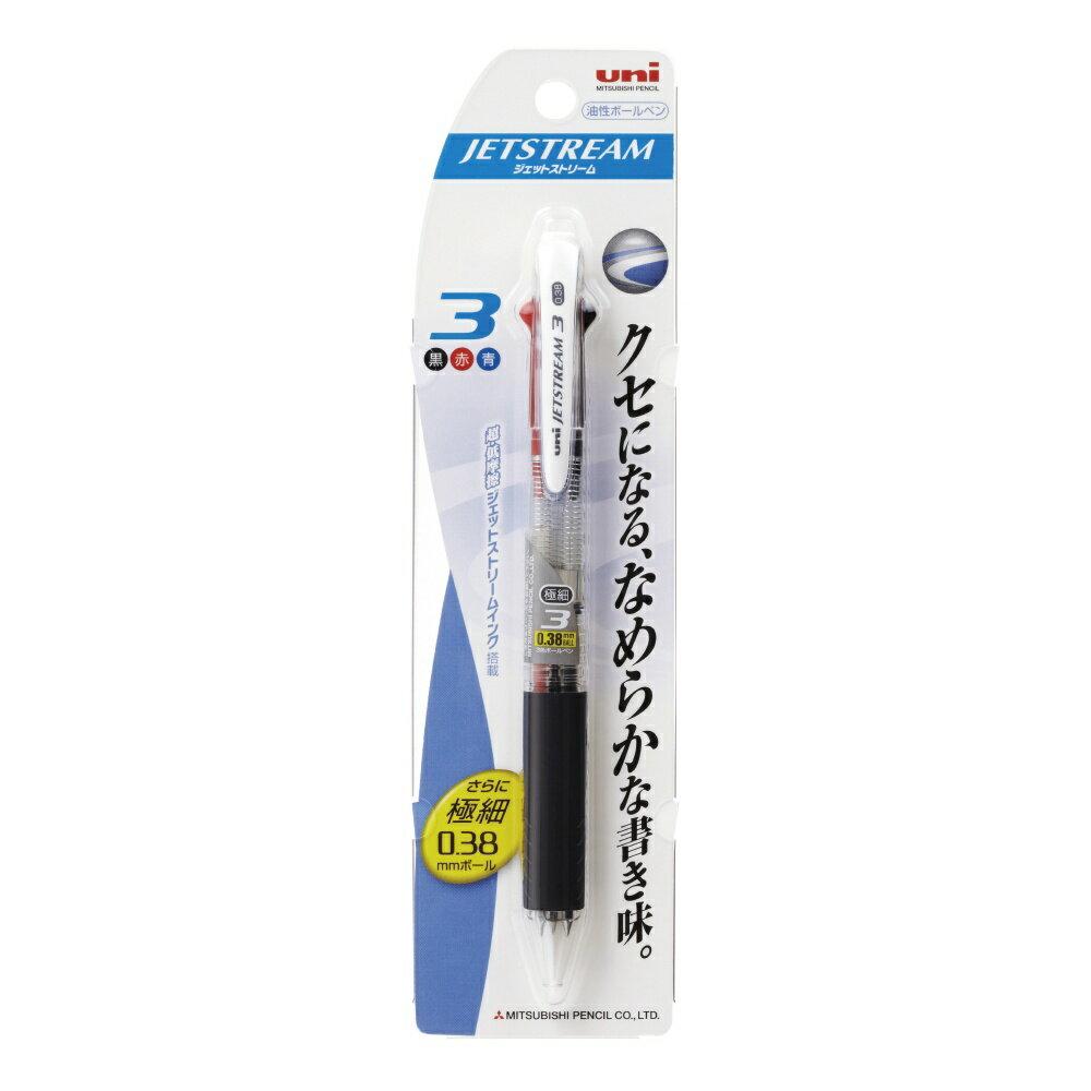 【メール便なら送料120円】三菱鉛筆ジェットストリームボールペン極細0.38mm3色 透明(パック品) SXE3400381P.T