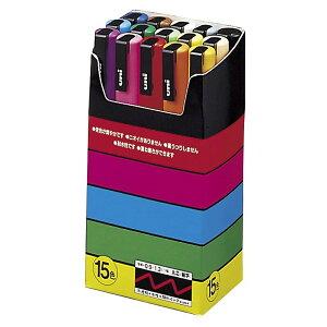 三菱鉛筆 MITSUBISHI ユニ uni ポスカ POSCA 水性マーカー サインペン 細字 丸芯 15色セット PC3M15C