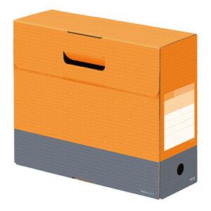 プラス(PLUS) ボックスファイル フタ付き デジャヴ A4横 背幅100mm ネーブルオレンジ FL-028BF 76-132