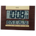セイコー 電波掛置兼用時計 SQ440B 快適度表示 温湿度・カレンダー表示付 茶木目模様