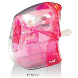 ソニック 手動鉛筆削り かるハーフ スケルトン クリアピンク SK-804-CP