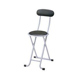 折り畳みイス 幅310×奥行440×高さ730×座面高さ440mm ブラック 弘益 折りたたみチェア 折りたたみいす 折り畳み椅子 折りたたみ椅子 軽量 持ち運び 背もたれ 椅子 チェア KE-PFC-10-BK