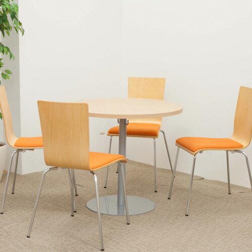 【送料無料】ラウンドテーブル幅80cmミーティングセット プライウッドチェア4脚セット 丸テーブル カフェテーブル リフレッシュテーブル ロビー 1400002
