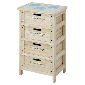 木製ボックス 4段 幅400 奥行300 高さ670mm ナチュラル 不二貿易 天然木 完成品 白 収納 整理 キャビネット 木製 アンティーク 収納棚 引き出し 収納ボックス FB-68094