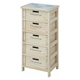 木製ボックス 5段 幅400 奥行300 高さ820mm ナチュラル 不二貿易 天然木 完成品 白 収納 整理 キャビネット 木製 アンティーク 収納棚 引き出し 収納ボックス FB-68094