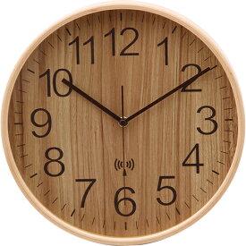 プライウッド電波掛時計 Φ28cm 幅280×奥行45×高さ280mm ナチュラル ブラウン ホワイト ネイビー 不二貿易 壁掛け 電波 おしゃれ 北欧 壁掛け時計 FB-85350 FB-85351 FB-85352 FB-85353