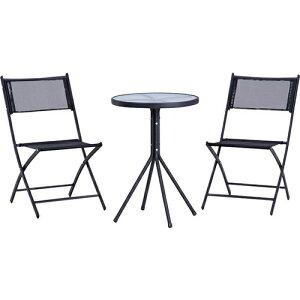 ベランダ3点セット テーブル 椅子2組 幅500 奥行500 高さ700mm ブラック 丸テーブル アンティーク クラシック カフェ テーブル 椅子 いす イス シンプル セット 94403 北欧