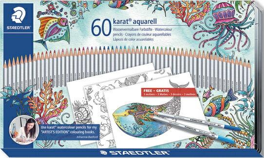 STAEDTLER(ステッドラー)カラト アクェレル 125 水彩色鉛筆 60色セットジョハンナ・バスフォード バージョン125M60JB 125 M60JB(11000) 【RCP】華やかなスリーブが彩る 限定パッケージ海の楽園のオリジナルぬりえ台紙が付いてます。