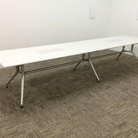 【中古】【クーポンあり】ミーティングテーブル ホワイト ダイニングテーブル DD 2枚天板 DDD-369W7S-W9 イトーキ ホワイトW テーブル スタック 会議テーブル オフィス家具 業務用 TM-830727B ∴DD 2枚天板 DDD-369W7S-W9 イトーキ