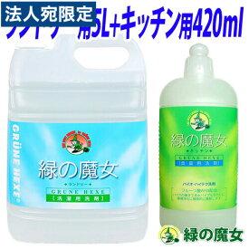 緑の魔女 洗剤セット (ランドリー用 液体洗剤 5L・キッチン用 液体洗剤 420ml) 業務用洗剤OT