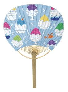 千代紙風 小丸型竹うちわNO.8009 「かき氷」 3本セット310×210mm【新日本カレンダー】