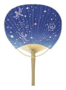 千代紙風 小丸型竹うちわNO.8028 「星空」 3本セット310×210mm【新日本カレンダー】