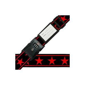 (同梱不可)スーツケースベルト TSAベルト ビッグスター柄 黒×赤