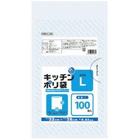 プラスプラスキッチンポリ袋(透明) L 320×380×0.02mm 100枚PKP-L-100【オルディ】