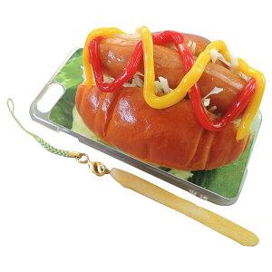 (同梱不可)日本職人が作る 食品サンプル iPhone7ケース/アイフォンケース ホットドッグ ストラップ付き IP-708