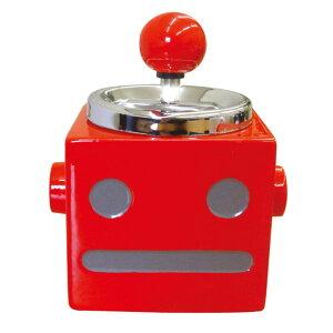 (同梱不可)ロボタン ターンアシュトレイ(灰皿) RD AR-969 ふた付き かわいい 回転 バネ内臓 自動 おしゃれ スチール 陶器 吸殻