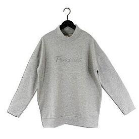 【メール便不可】【SALE】T/C裏毛素材 刺繍ロゴ入り ハイネック プルオーバー【Riche glamour】【グレーのみ・在庫限り!】
