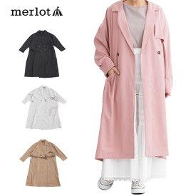 【メール便不可】【merlot】【訳あり】ロング丈 テープベルト付き 薄手 トレンチコート 【メルロー】