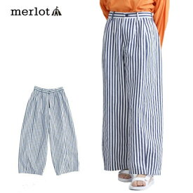 【merlot】【訳あり】シンプル ストライプ ワイドタックパンツ【メルロー】