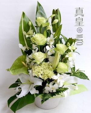 敬老ギフトプレゼントアレンジメント花誕生日結婚祝いお礼歓送迎ユリとバラの季節のアレンジ送別お祝い退職発表会開店祝い結婚記念日
