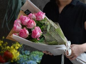 シンプルローズピンクバラ10本の花束送料無料誕生日女性退職母誕生日クール便